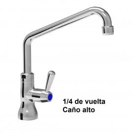 Grifo giratorio un agua 1/4 de vuelta caño alto
