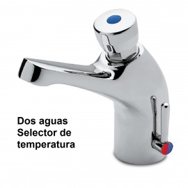 Grifo temporizado dos aguas con selector de temperatura