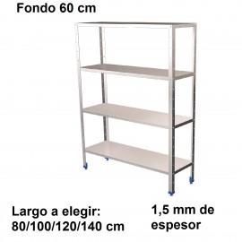 Estantería inoxidable de 4 niveles 600 ancho 1,5 mm