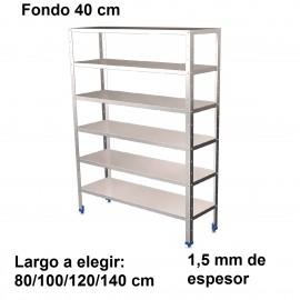 Estantería inoxidable de 6 niveles 400 ancho 1,5 mm