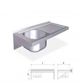 Fregaderos colgantes de 500 mm. con cartelas, una cubeta y escurridor derecho FR057416