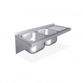 Fregaderos colgantes de 500 mm. con cartelas, una cubeta y escurridor derecho FR057436