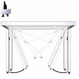 Mesa plegable de acero inoxidable con estante