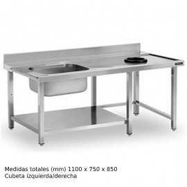 Mesa fregadero con Aro desbarazado y estante DIFPAEC11I
