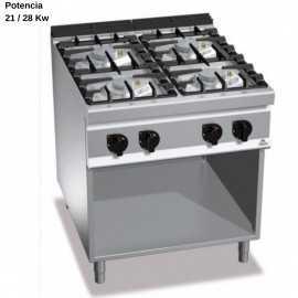 Cocina gas industrial 4 Fuegos RMG7F