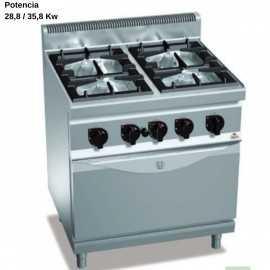 Cocina a gas con horno industrial GN2/1 RMG7F4