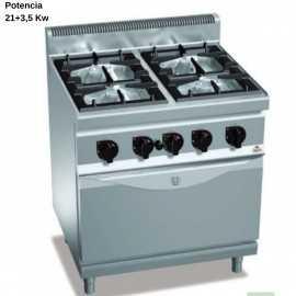 Cocina a gas con horno industrial electrico RMG7F4+FE1
