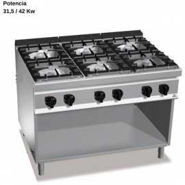 Cocina gas industrial 6 Fuegos RMG7F
