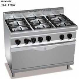Cocina a gas con horno industrial grande RMG7F6