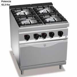 Cocina industrial con horno Gas RMG9F4+FG