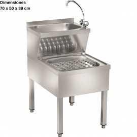 Lavamanos inox con fregadero 2 aguas DULMMC