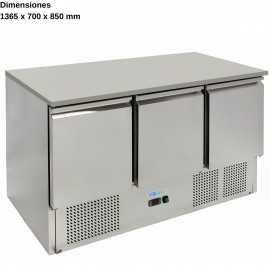 Mesas frias para ensaladas 3 Puertas DUG-S903TOP-FC