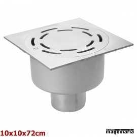 Sumidero sifónico salida vertical acero inox 10x10 cm