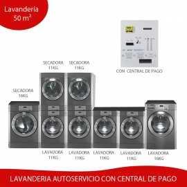 Kit Lavanderia Autoservicio 50 m² Central de Pagos