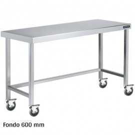 Mesa inox con ruedas Fondo 600