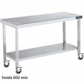 Mesa inox con ruedas y balda Fondo 600