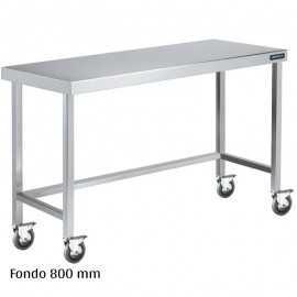 Mesa inox con ruedas Fondo 800
