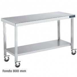 Mesa inox con ruedas y Balda Fondo 800