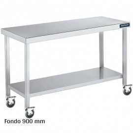 Mesa inox con ruedas y estante Fondo 900