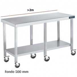 Mesa inox con ruedas y balda F500 +2m DIFC150220+6R