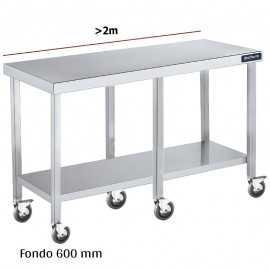 Mesa inox con ruedas y balda F600 +2m DIFC160220+6R