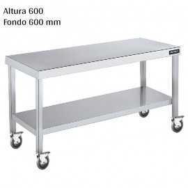 Mesa cocina inox Altura 600 Ruedas y Balda F600