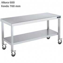 Mesa cocina inox Altura 600 Ruedas y Balda F700