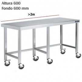 Mesa cocina inox Baja con ruedas F600 +2m DIFC066220+6RB