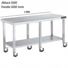 Mesa cocina inox Baja con ruedas y estante F600 +2m DIFC166220+6RB