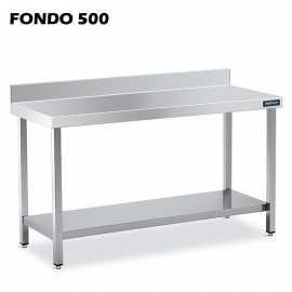 Mesa MURAL Acero Inox Fondo 500 CON ESTANTE