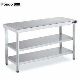 Mesa inox Doble Estante Fondo 90 DIFC290060