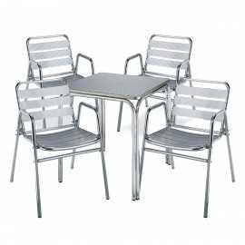 Conjunto aluminio CLASSIC 4sillasR1mesa