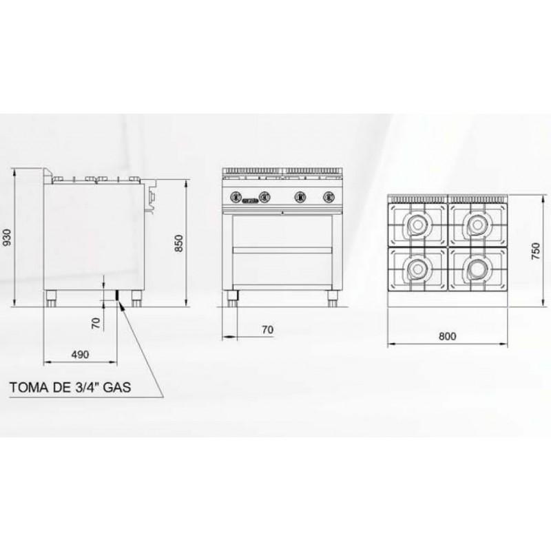 Cocina industrial re c740 con 4 fogones for Medidas de cocina industrial