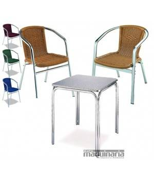 Conjunto 1 mesa cuadrada y 4 sillones MEDULA4