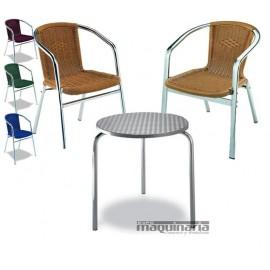 Conjunto 1 mesa redonda y 3 sillones MEDULA3