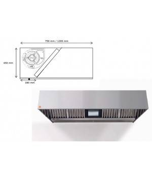 Campana extractora de pared ECO R monobloc 1000 cm largo