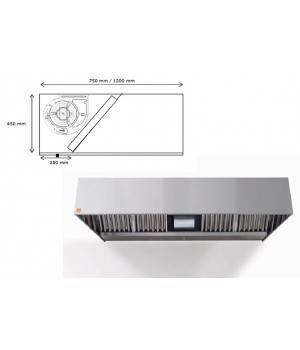 Campana extractora de pared ECO R monobloc 1000 cm largo