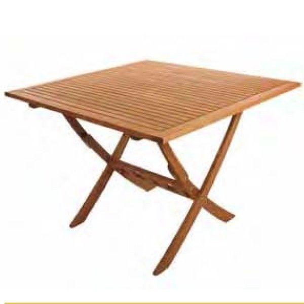 Mesa de exterior plegable de madera de balau ez forest 80x80 - Mesa plegable madera ...