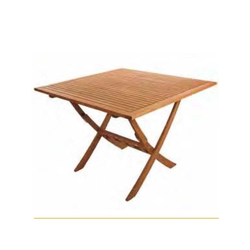 Mesa de exterior plegable de madera de balau ez forest 80x80 - Mesa plegable exterior ...
